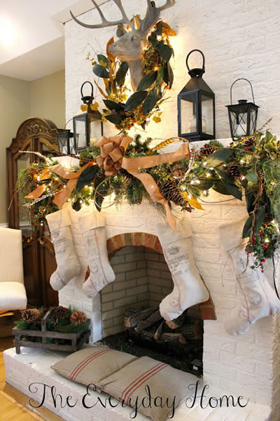 Country mantel decorating
