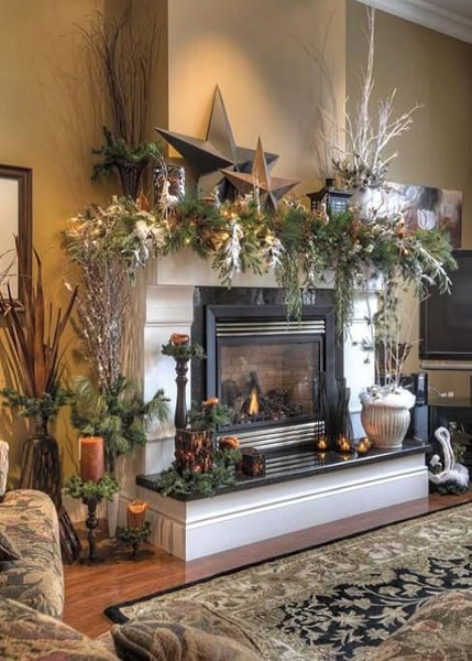 country mantel - Christmas Mantel Decorating Ideas