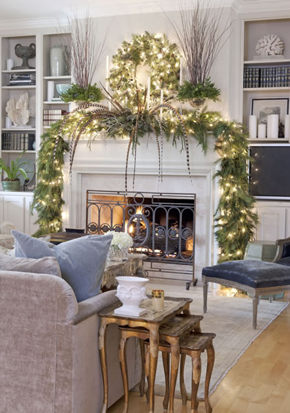 Feathers on Christmas Mantel