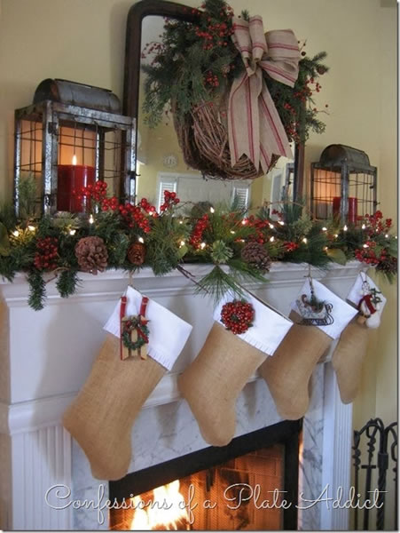 country mantel decorating ideas - Country Christmas Mantel Decorating Ideas