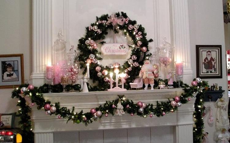 Pink Christmas Mantel