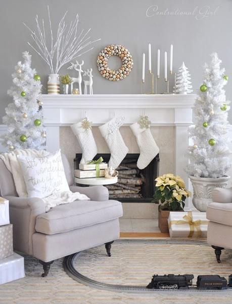 White Christmas Mantel decorating ideas