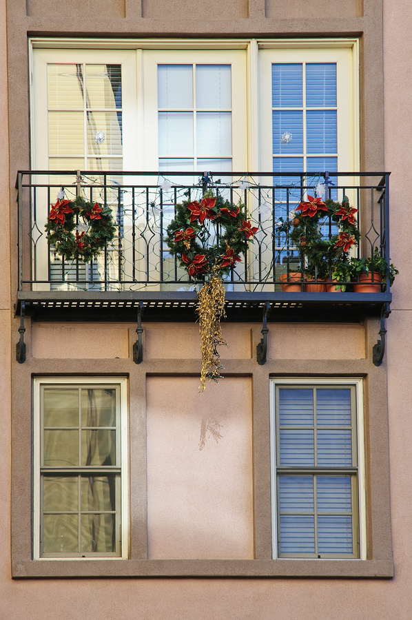 Christmas Wreaths on Balcony