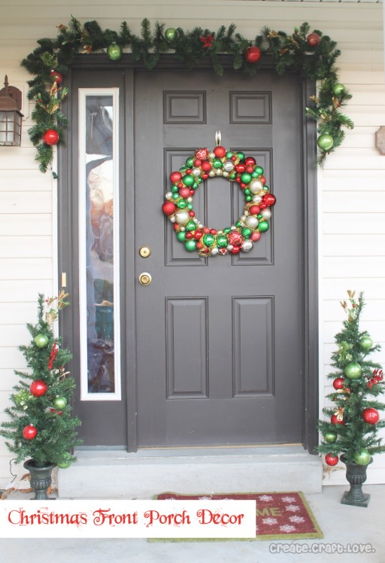 ornament wreathcaption - How To Decorate Front Porch For Christmas