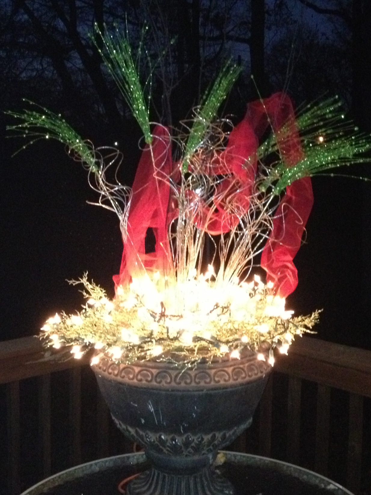 Planter with String Lights