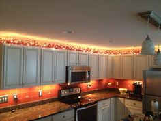 kitchen cabinets string lights