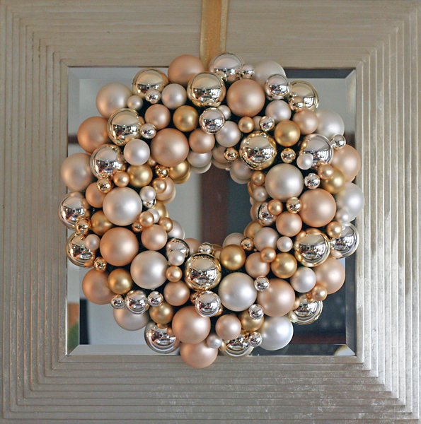 Christmas wreath on a mirror