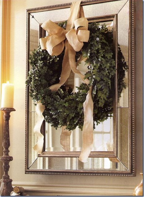 Christmas wreath mirror
