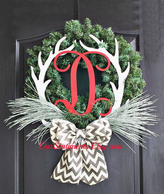Monogrammed Christmas wreath for him