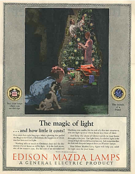 1920s GE ad for MAZDA lamps