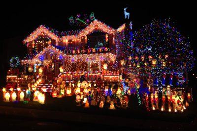 Christmas decorated house