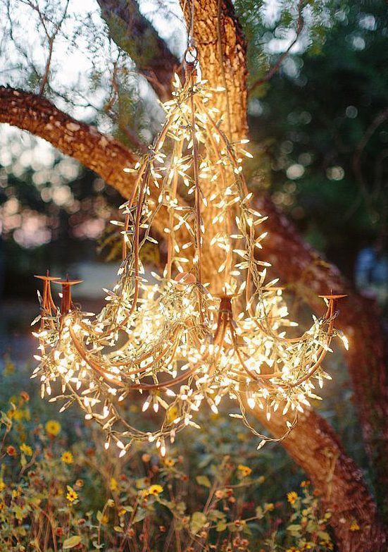 Make Your Own Modern Chandelier with String Lights
