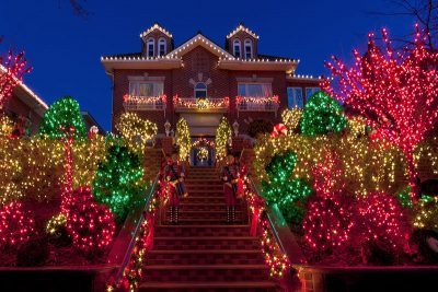 LED Christmas Lights decorate a festive home