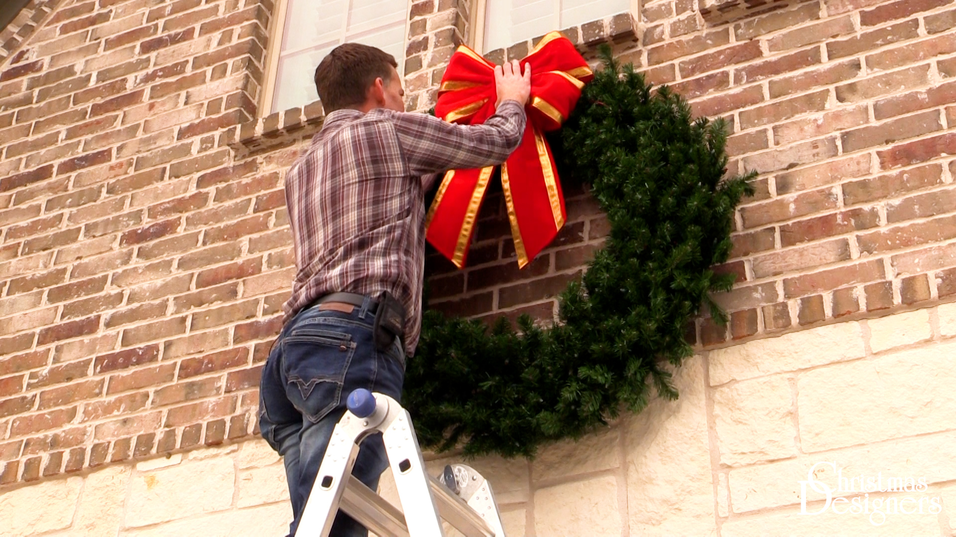 Easily Hang a Wreath on Brick