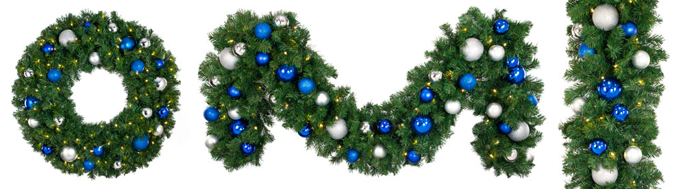 blue and silver decorated wreaths and garlands