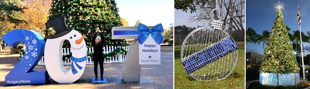 blue and white christmas displays