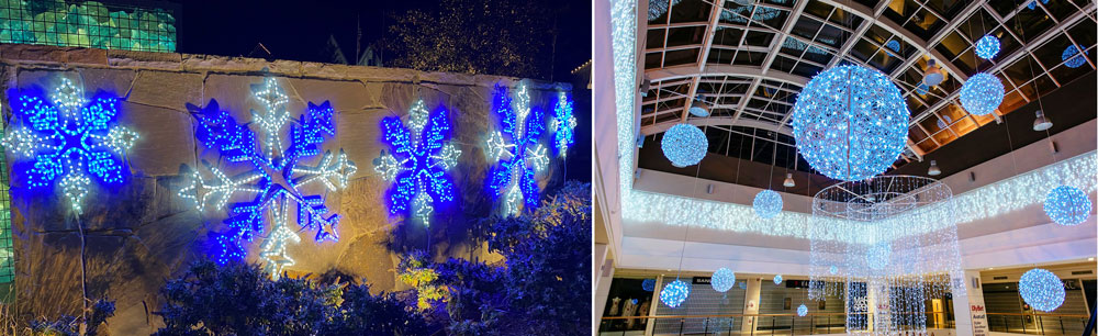 snow and icicle christmas light decorations